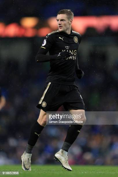Jamie Vardy of Leicester in action during the Premier League match between Manchester City and Leicester City at the Etihad Stadium on February 10...