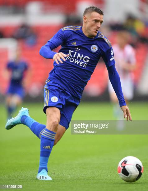 Jamie Vardy of Leicester in action during the Pre-Season Friendly match between Stoke City and Leicester City at the Bet365 Stadium on July 27, 2019...