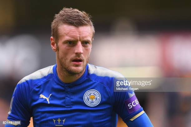 Jamie Vardy of Leicester in action during the preseason friendly match between Wolverhampton Wanderers and Leicester City at Molineux on July 29 2017...