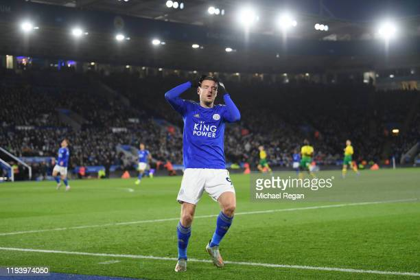 Jamie Vardy of Leicester looks dejected after a missed chance during the Premier League match between Leicester City and Norwich City at The King...