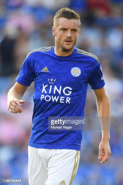 Jamie Vardy of Leicester looks on during the Pre-Season Friendly match between Leicester City and Atalanta at The King Power Stadium on August 02,...