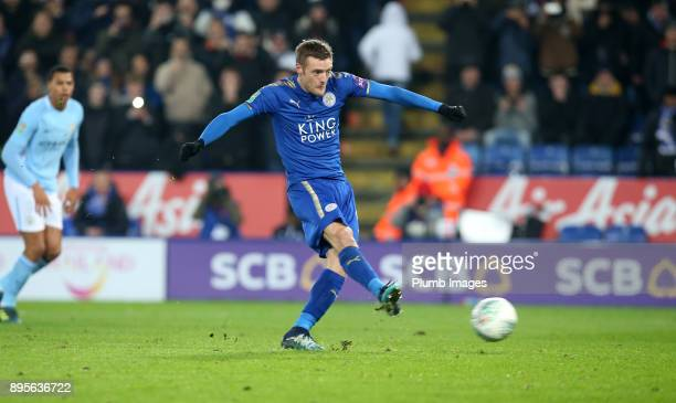 Jamie Vardy of Leicester scores from the penalty spot to make it 11 during the Carabao Cup QuarterFinal match between Leicester City and Manchester...