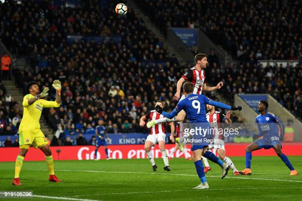 Jamie Vardy of Leicester scores his sides first goal during The Emirates FA Cup Fifth Round match between Leicester City and Sheffield United at The...