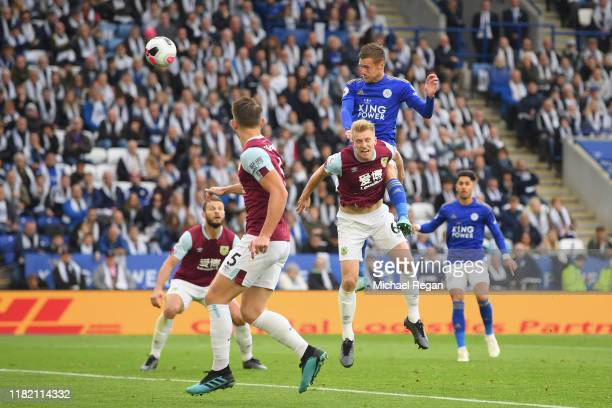 Jamie Vardy of Leicester scores to make it 11 during the Premier League match between Leicester City and Burnley FC at The King Power Stadium on...