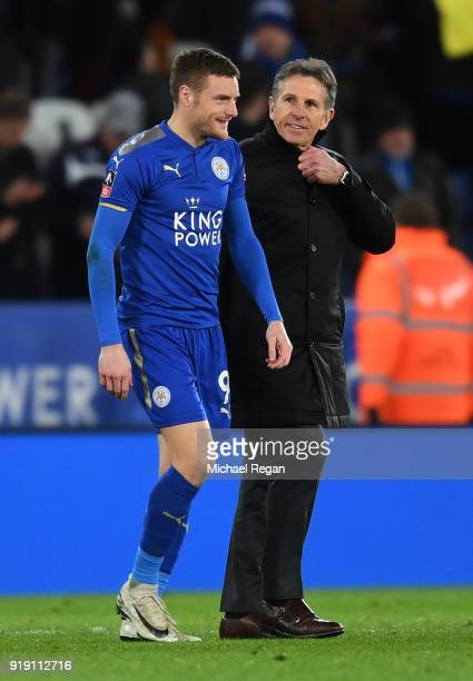 Jamie Vardy of Leicester talks with Claude Puel manager of Leicester after the Emirates FA Cup Fifth Round match between Leicester City and Sheffield...