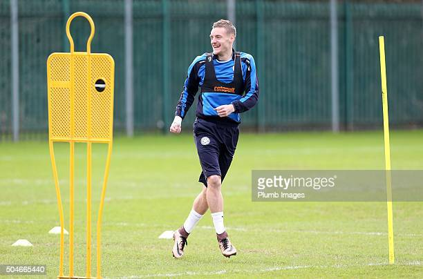 Jamie Vardy returns to training after his operation during the Leicester City training session at Belvoir Drive Training Complex on January 12th ,...