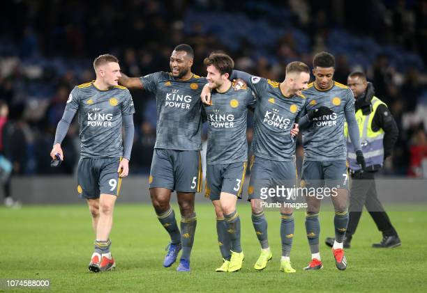 Jamie Vardy Wes Morgan Ben Chilwell James Maddison and Demarai Gray of Leicester City celebrate after the Premier League match between Chelsea FC and...