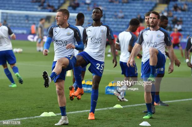 Jamie Vardy Wilfred Ndidi of Leicester City before the Premier League match between Leicester City and Southampton at The King Power Stadium on April...