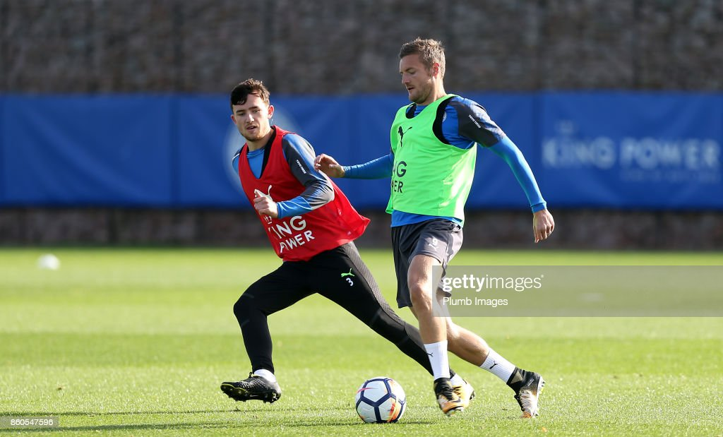Jamie Vardy with Ben Chilwell during the Leicester City training session at Belvoir Drive Training Complex on October 12 , 2017 in Leicester, United Kingdom.