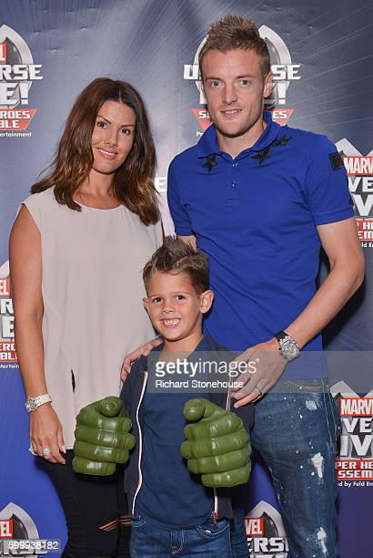 Jamie Vardy with his wife Rebekah and their son attend the opening night of Marvel Universe LIVE at Motorpoint Arena in Nottingham where they...