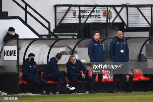 Jamie Vermiglio, Manager and Andy Preece , Assistant Manager of Chorley FC look on during the FA Cup Third Round match between Chorley and Derby...