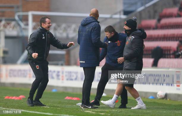 Jamie Vermiglio, Manager of Chorley FC celebrates at the final whistle during the FA Cup First Round match between Wigan Athletic and Chorley on...