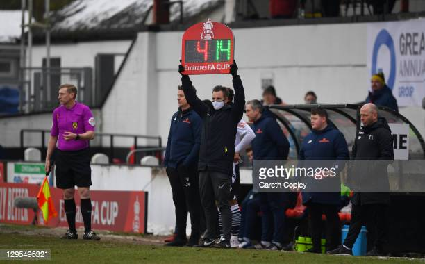 Jamie Vermiglio, Manager of Chorley FC looks on as his side makes a substitute during the FA Cup Third Round match between Chorley and Derby County...