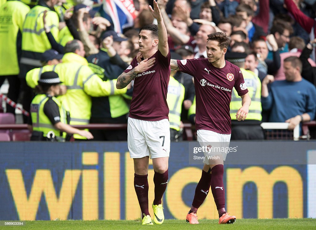 Jamie Walker of Hearts celebrates his goal during the Ladbrokes Scottish Premiership match between Hearts and Celtic on August 7, 2016 in Glasgow, Edinburgh.