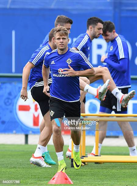 Jamie Ward at this mornings Northern Ireland team training session at their training camp on June 14 2016 in Lyon France