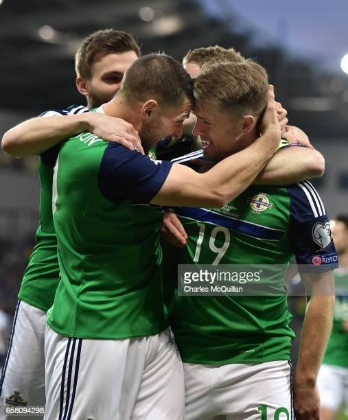 Jamie Ward of Northern Ireland celebrates after opening the scoring during the FIFA 2018 World Cup Qualifier between Northern Ireland and Norway at...