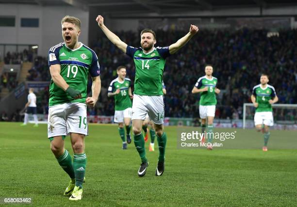 Jamie Ward of Northern Ireland celebrates after scoring the opening goal during the FIFA 2018 World Cup Qualifier between Northern Ireland and Norway...