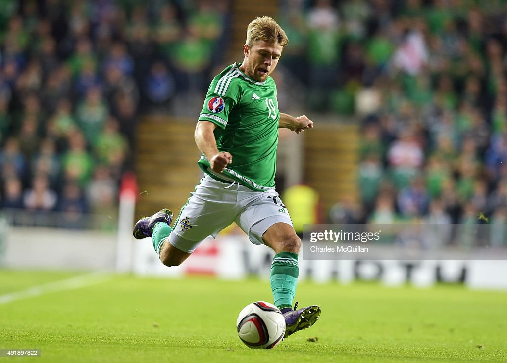 Jamie Ward of Northern Ireland during the Euro 2016 Group F international football match against Greece at Windsor Park on October 8, 2015 in Belfast, Northern Ireland.