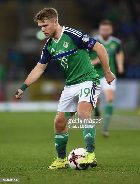 Jamie Ward of Northern Ireland during the FIFA 2018 World Cup Qualifier between Northern Ireland and Norway at Windsor Park on March 26 2017 in...