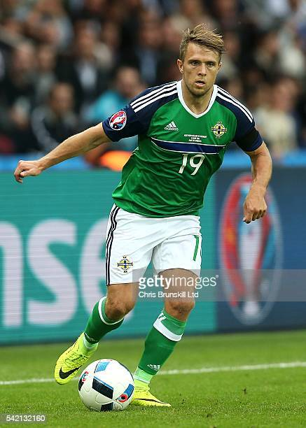 Jamie Ward of Northern Ireland in action during the UEFA Euro 2016 Group C match between the Northern Ireland and Germany at Parc des Princes on June...