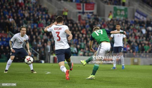 Jamie Ward of Northern Ireland scores during the FIFA 2018 World Cup Qualifier between Northern Ireland and Norway at Windsor Park on March 26 2017...