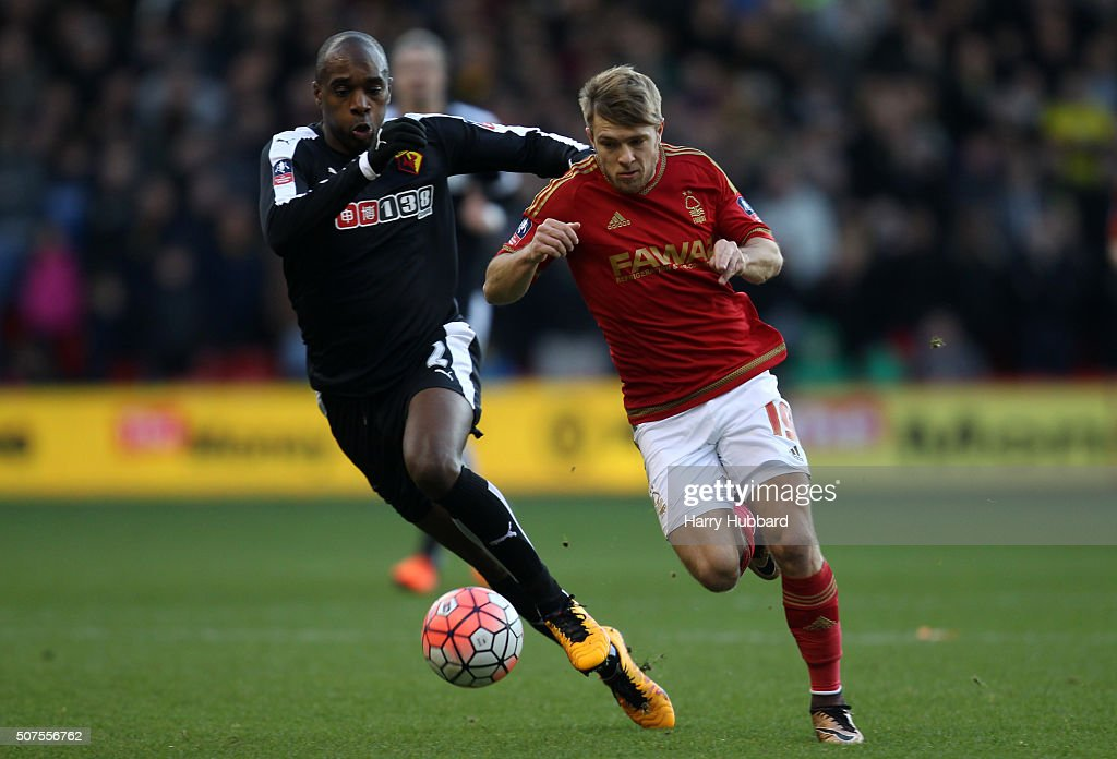 Jamie Ward of Nottingham Forest and Allan Nyom of Watford in action during the Emirates FA Cup Fourth Round match between Nottingham Forest and Watford at the City Ground on January 30, 2016 in Nottingham, England.