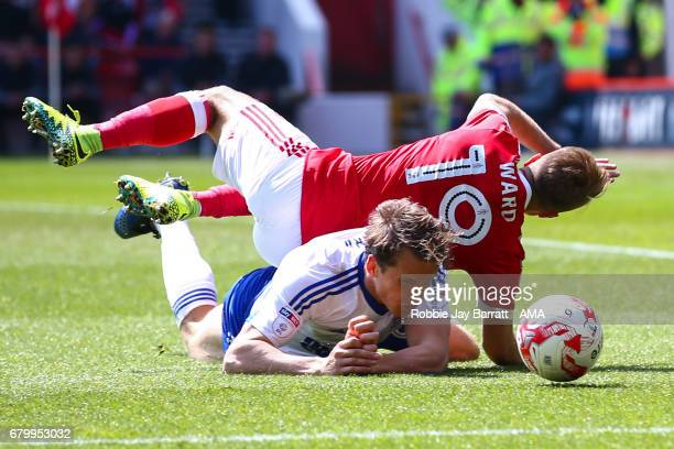 Jamie Ward of Nottingham Forest and Christophe Berra of Ipswich Town during the Sky Bet Championship match between Nottingham Forest and Ipswich Town...