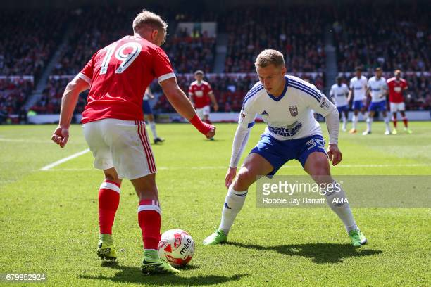 Jamie Ward of Nottingham Forest and Danny Rowe of Ipswich Town during the Sky Bet Championship match between Nottingham Forest and Ipswich Town at...