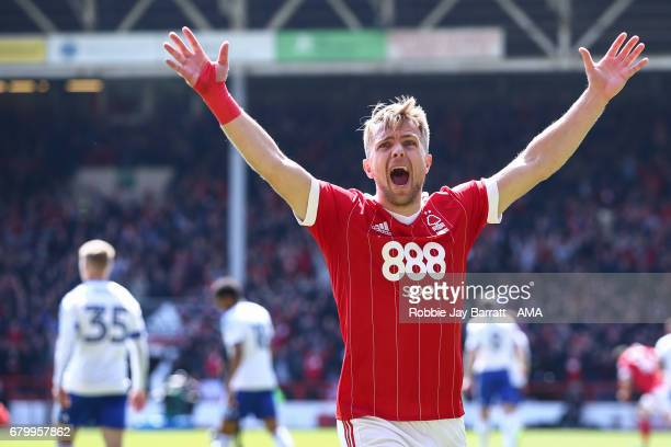 Jamie Ward of Nottingham Forest celebrates during the Sky Bet Championship match between Nottingham Forest and Ipswich Town at City Ground on May 7...