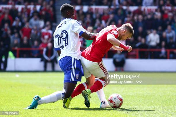 Jamie Ward of Nottingham Forest wins a penalty during the Sky Bet Championship match between Nottingham Forest and Ipswich Town at City Ground on May...