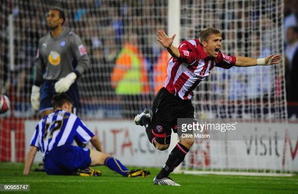 Jamie Ward of Sheffield United celebrates his goal during the Coca-Cola Championship match between Sheffield United and Sheffield Wednesday at...