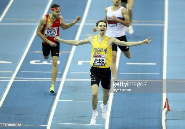 Jamie Webb celebrates after appearing to win the race prior to being disqualified during Day Two of the SPAR British Athletics Indoor Championships...