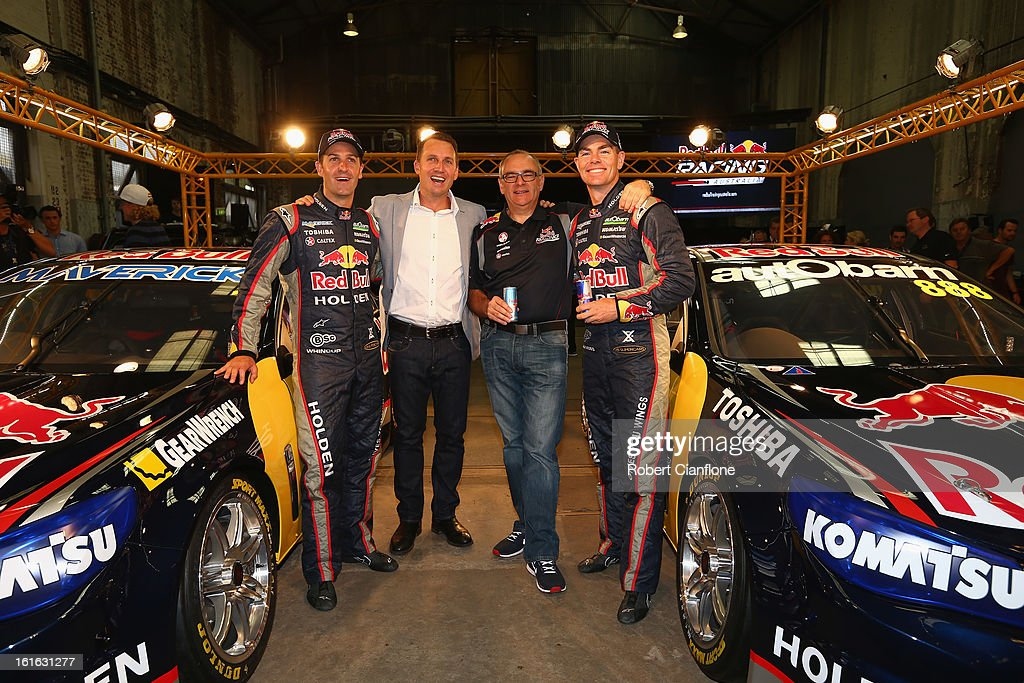 Jamie Whincup and Craig Lowndes drivers for Red Bull Australia, Red Bull Australia and New Zealand managing director Jason Sargent and team principal Roland Dane pose for the media during the Red Bull Racing Australia 2013 V8 Supercars launch at Carriageworks on February 14, 2013 in Sydney, Australia.