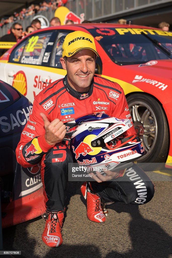 Jamie Whincup driver of the #88 Red Bull Holden Racing Team Holden Commodore VF celebrates after winning race 18 for the Sydney SuperSprint, which is part of the Supercars Championship at Sydney Motorsport Park on August 20, 2017 in Sydney, Australia.