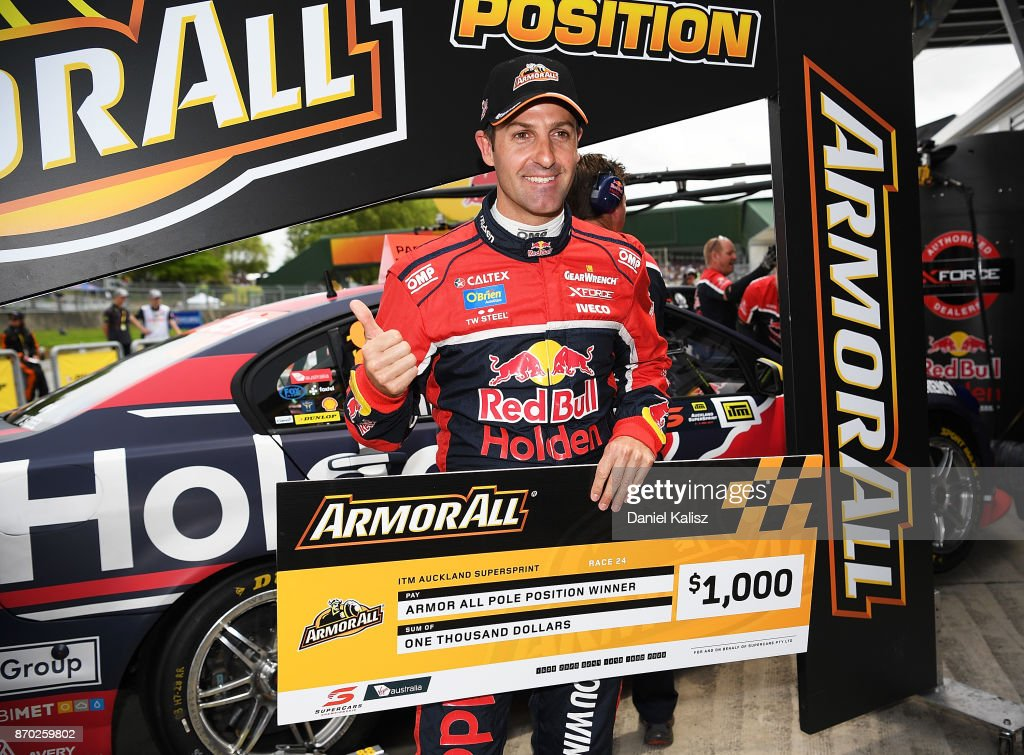 Jamie Whincup driver of the #88 Red Bull Holden Racing Team Holden Commodore VF celebrates after taking pole position for during qualifying for race 24 for the Auckland SuperSprint, which is part of the Supercars Championship at Pukekohe Park Raceway on November 5, 2017 in Pukekohe, New Zealand.