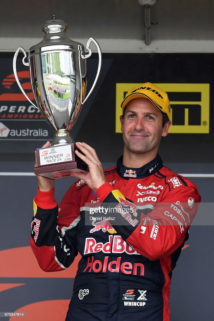 Jamie Whincup driver of the #88 Red Bull Holden Racing Team Holden Commodore VF celebrates after winning reactsace 24 for the Auckland SuperSprint, which is part of the Supercars Championship at Pukekohe Park Raceway on November 5, 2017 in Pukekohe, New Zealand.