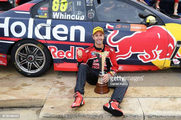 Jamie Whincup driver of the Red Bull Holden Racing Team Holden Commodore VF celebrates after winning race 26 and the 2017 Supercars Drivers...