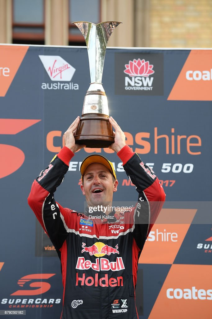 Jamie Whincup driver of the #88 Red Bull Holden Racing Team Holden Commodore VF celebrates after winning race 26 and the 2017 Supercars Drivers Championship during the Newcastle 500, which is part of the Supercars Championship at Newcastle Street Circuit on November 26, 2017 in Newcastle, Australia.