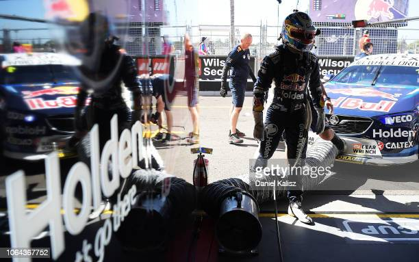 Jamie Whincup driver of the Red Bull Holden Racing Team Holden Commodore ZB during a practice session ahead of Supercars Newcastle 500 on November 23...