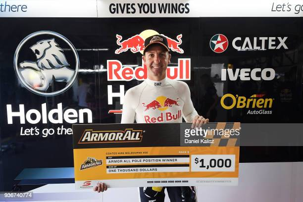 Jamie Whincup driver of the Red Bull Holden Racing Team Holden Commodore ZB celebrates after taking pole position for race 4 during the Supercars...