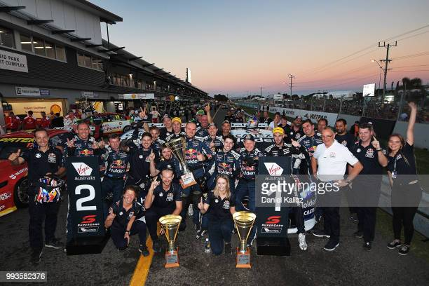 Jamie Whincup driver of the Red Bull Holden Racing Team Holden Commodore ZB and Shane Van Gisbergen driver of the Red Bull Holden Racing Team Holden...