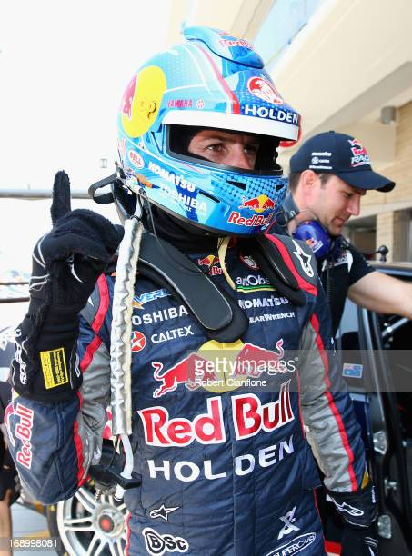 Jamie Whincup driver of the Red Bull Racing Australia Holden celebrates after qualifying on pole for race 14 for the Austin 400 which is round five...