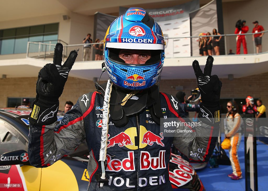 Jamie Whincup driver of the #1 Red Bull Racing Australia Holden celebrates after winning race 14 for the Austin 400, which is round five of the V8 Supercar Championship Series at Circuit of The Americas on May 18, 2013 in Austin, Texas.