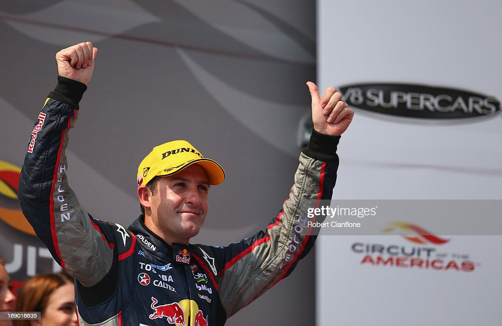 Jamie Whincup driver of the #1 Red Bull Racing Australia Holden celebrates after winning race 13 for the Austin 400, which is round five of the V8 Supercar Championship Series at Circuit of The Americas on May 18, 2013 in Austin, Texas.