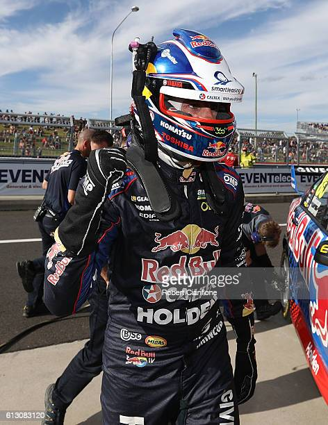 Jamie Whincup driver of the Red Bull Racing Australia Holden celebrates after qualifying fastest for the Top Ten Shoot Out for the Bathurst 1000...