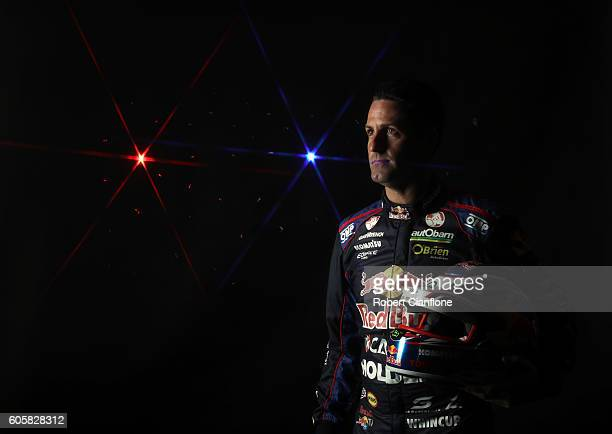 Jamie Whincup driver of the Red Bull Racing Australia Holden poses during a V8 Supercars portrait session at Sandown International Motor Raceway on...