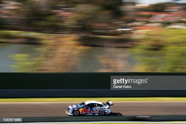 Jamie Whincup drives the Red Bull Holden Racing Team Holden Commodore ZB during practice for the Supercars Sandown 500 at Sandown International Motor...