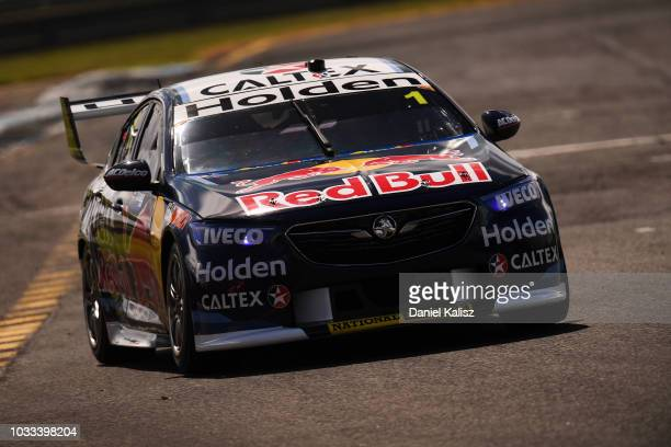 Jamie Whincup drives the Red Bull Holden Racing Team Holden Commodore ZB during qualifying for the Supercars Sandown 500 at Sandown International...