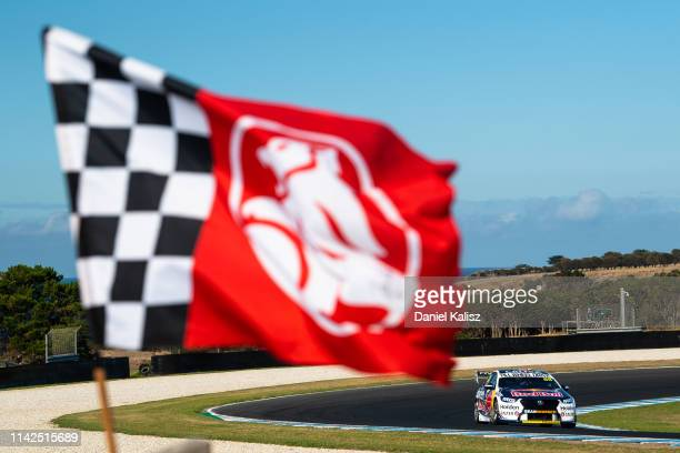 Jamie Whincup drives the Red Bull Holden Racing Team Holden Commodore ZBduring the Phillip Island 500 as part of the Supercars Championship season at...