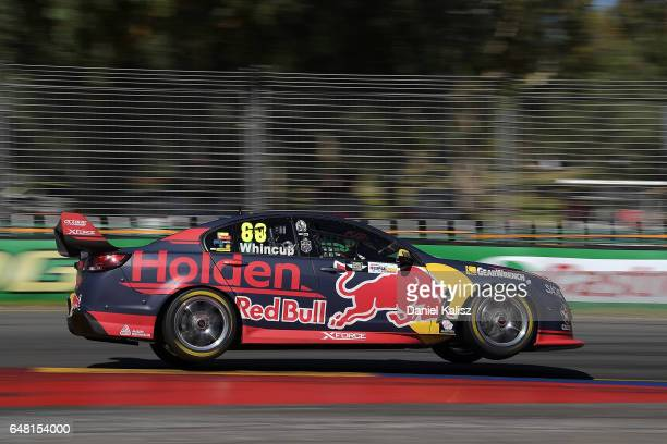 Jamie Whincup drives the Red Bull Holden Racing Team Holden Commodore VF during qualifying for race 2 of the Clipsal 500 which is part of the...